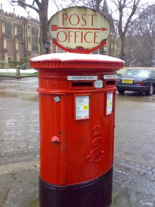 E7R pillar box with Post Office Direction sign, 1900s, London. Robert Cole
