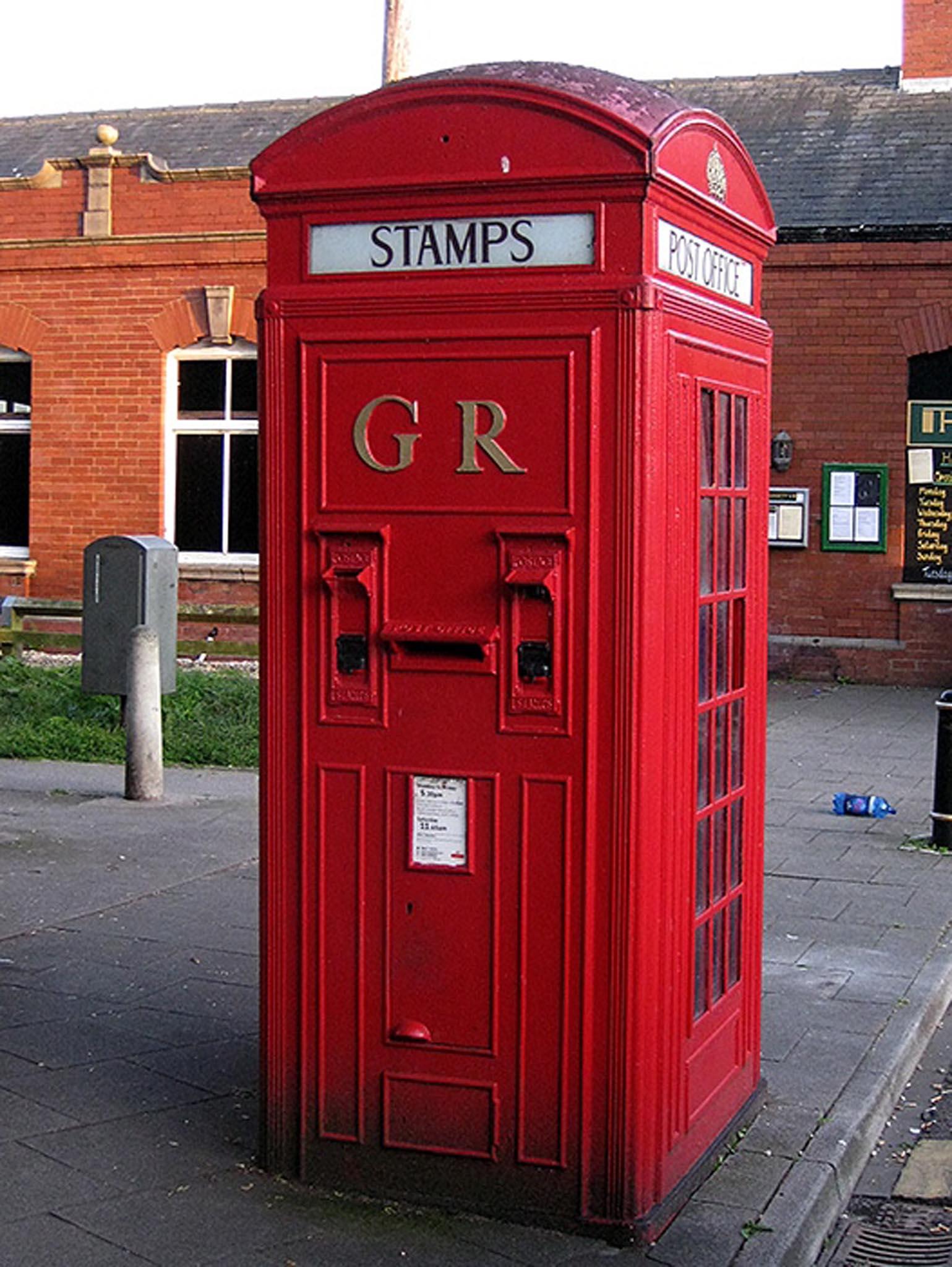 GR Vermillion Giant combined telephone kiosk and post box, 1920s, North East England. Howard Wilson