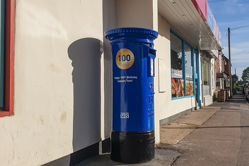 Pillar Box in NHS blue for Captain Tom